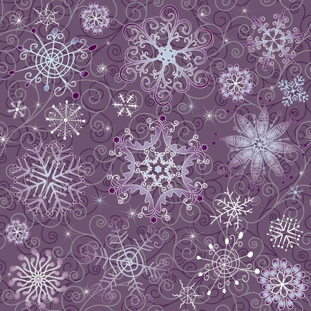 Gentle violet seamless Christmas pattern with varied snowflakes and curls (vector)