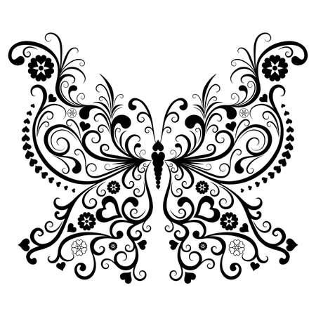 Vintage Valentine papillons noirs isolés sur fond blanc (vecteur)