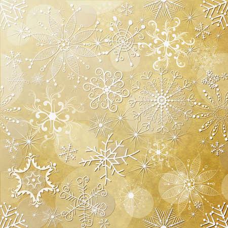 Oude gele kerst papier met witte vintage sneeuwvlokken