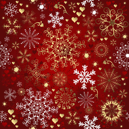 Christmas red seamless pattern with gold and white snowflakes (vector) Vektorové ilustrace