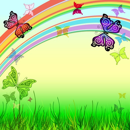 Spring vivid frame with meadow, rainbow and butterflies