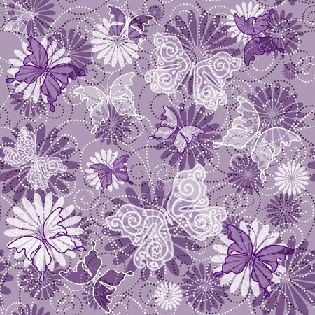Seamless violet floral pattern with transparent flowers and butterflies Stock Vector - 12154601