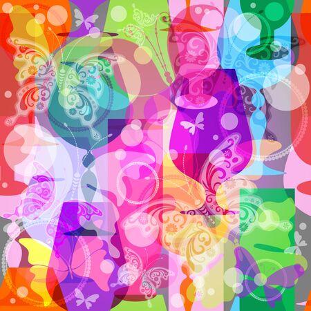 Kleurrijke doorschijnende wijnglazen met vlinders. Naadloze patroon
