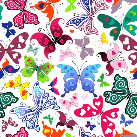 White seamless valentine pattern with colorful butterflies and hearts Stock Vector - 12495071