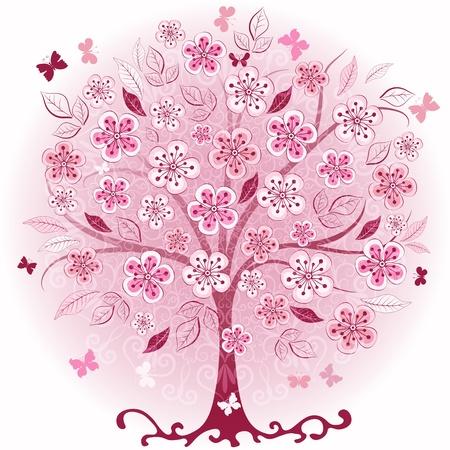 Decoratieve roze lente boom met bloemen, bladeren en vlinders