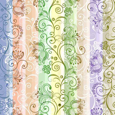 Kleurrijke bloemen naadloze gestreepte doorschijnend patroon