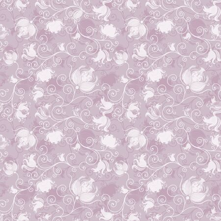 Repeating gentle pink floral pattern with vintage transparent flowers  vector EPS 10  Stock Vector - 12934617