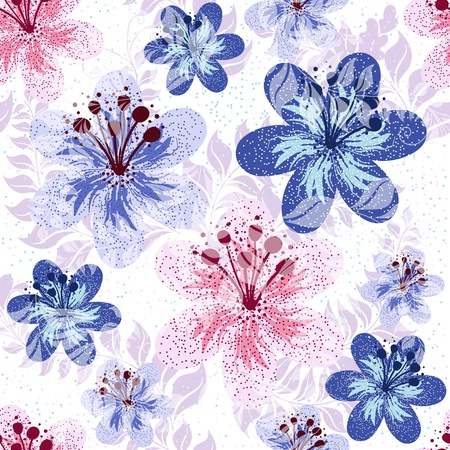 translucent: Seamless pink and white-blue floral pattern with flowers and translucent leaves (vector EPS 10)