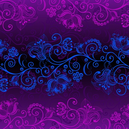 Dark violet floral seamless pattern with blue and pink flowers (vector)