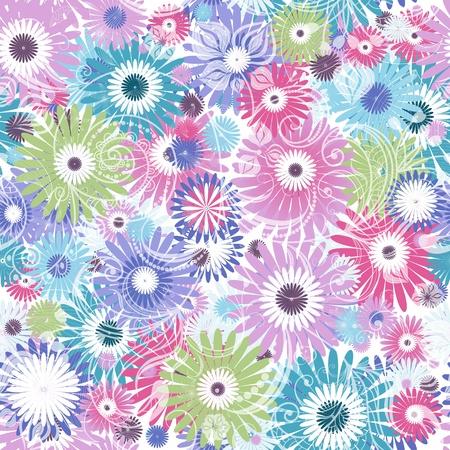 Naadloze bloemen pastel patroon met kleurrijke bloemen en vintage krullen