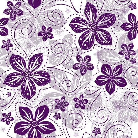 보라색 빈티지 꽃과 원활한 플로랄 화이트 패턴 벡터 곱슬