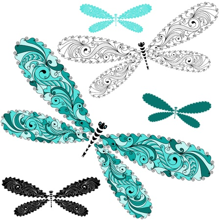 Set turquoise and black-white vintage dragonflies Illustration