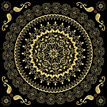 Decorative gold round frame with birds on black (vector)