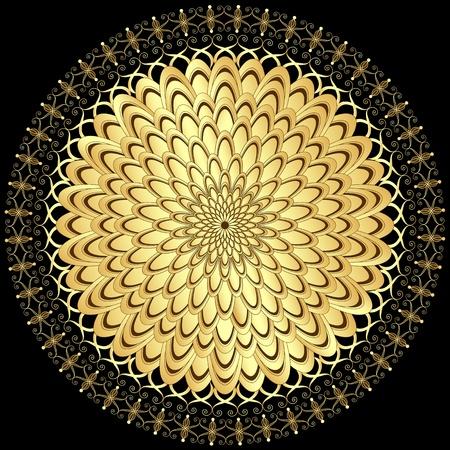Decoratieve gouden bloem met uitstekende ronde patronen op zwart Vector Illustratie