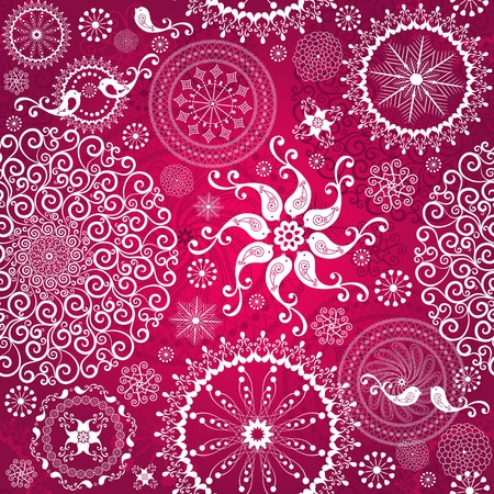 Christmas red repeating pattern with  white stylized birds and vintage snowflakes (vector) Illustration