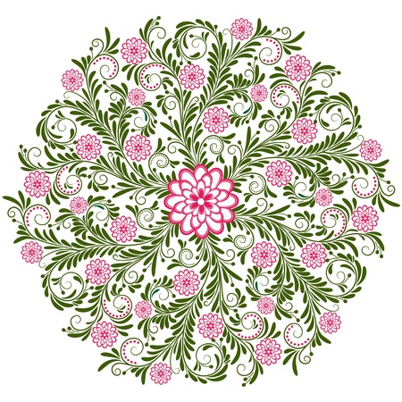 Dark green and pink round vintage floral pattern on white (vector) Illustration