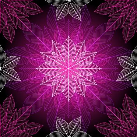 Dark violet seamless pattern with colorful translucent lotus Illustration