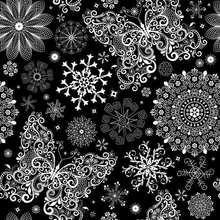 Noël noir motif dentelle transparente avec des flocons de neige blancs vintage et papillons
