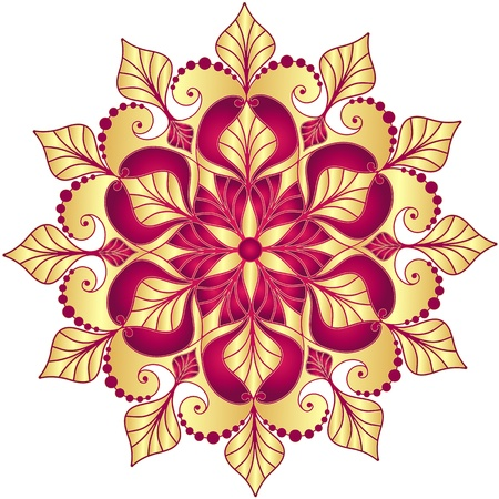 Christmas gold and purple snowflake on white Illustration