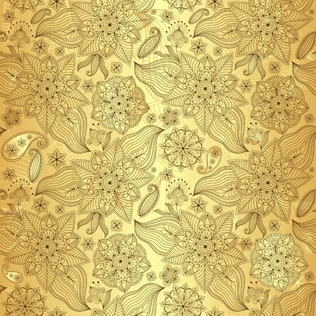 Gold lacy seamless pattern with vintage flowers and paisley (vector)