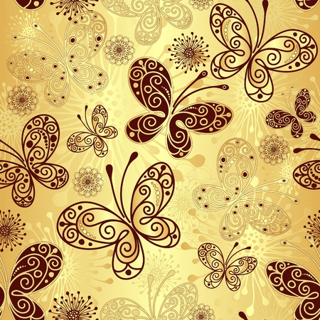 Gold and brown seamless pattern with lacy butterflies
