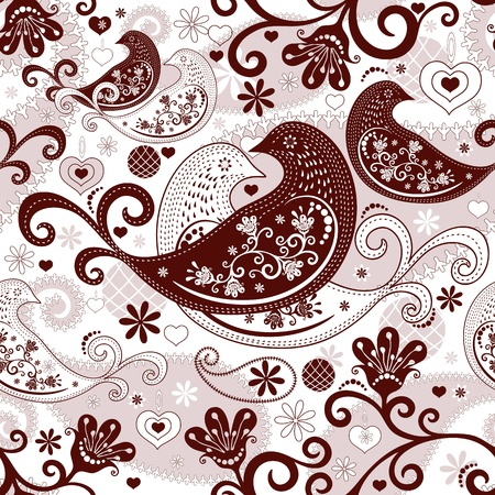 Brown-white valentine repeating pattern with stylized birds and vintage flowers (vector) Illustration