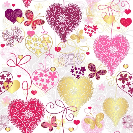 Seamless motley valentine pattern with decorative hearts and butterflies (vector)