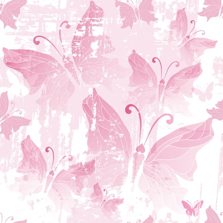 Seamless pink grunge pattern with translucent butterflies