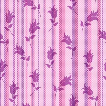 Seamless doux rayé avec pois blancs translucides et s'abaisse violets