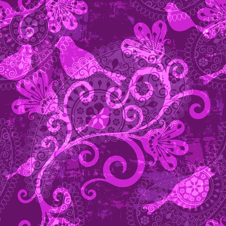 Violet repeating translucent grunge pattern with stylized birds and flowers Иллюстрация