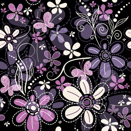 Repeating black floral pattern with  transparent flowers and butterflies (vector EPS 10)