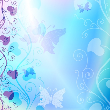Gentle blue spring floral frame with translucent butterflies  vector EPS 10  Illustration