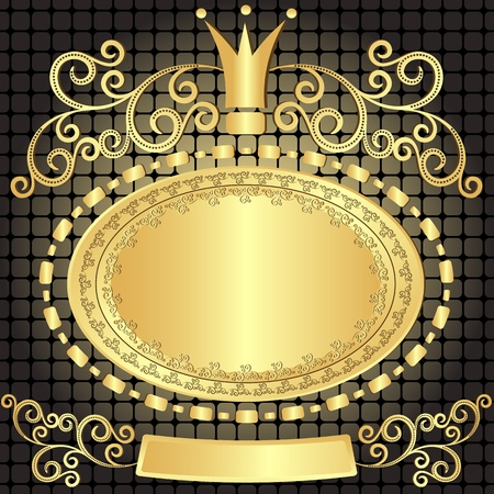 Decorative gold oval vintage frame on dark pattern (vector) Illustration