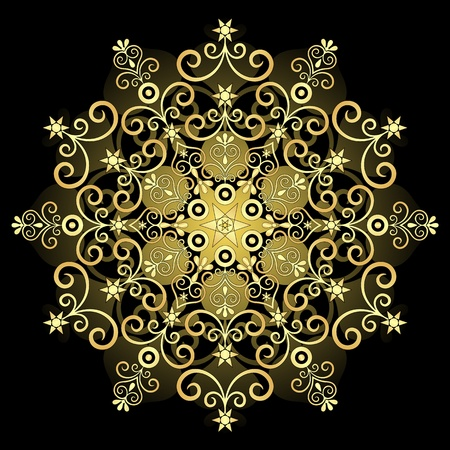 Decorative gold vintage round patterns on black (vector) Illustration
