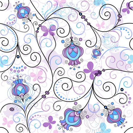 Gentle seamless spring pattern with vivid flowers and transparent butterflies (vector EPS 10)