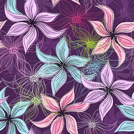 Repeating violet floral pattern with vivid and transparent flowers