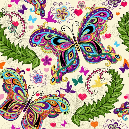 Seamless valentine pattern with colorful vintage butterflies and flowers and hearts