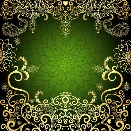 Green and gold luxurious filigree vintage floral frame