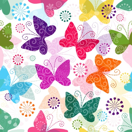 Spring seamless pattern with colorful and transparent butterflies