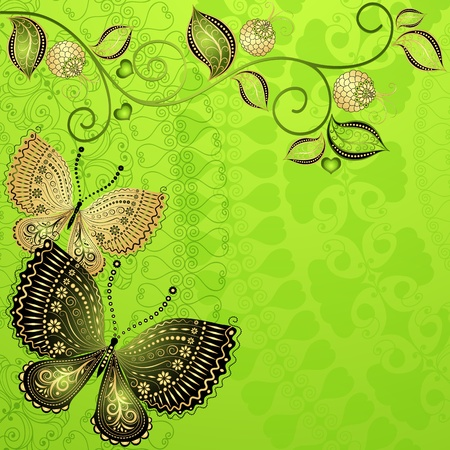 Green spring floral frame with vintage butterflies