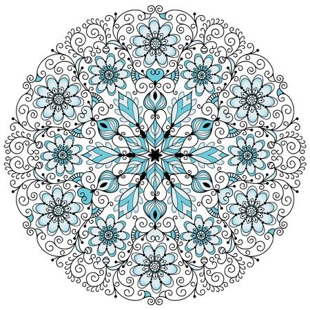 Rond bleu-gris-noir motif floral en dentelle vintage sur blanc