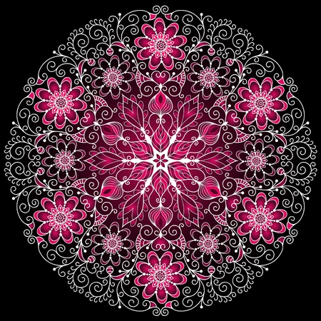 White-purple round floral vintage pattern on black