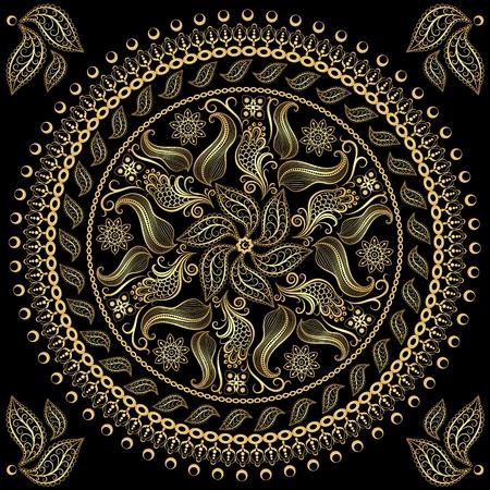 Lacy gold round vintage frame on black