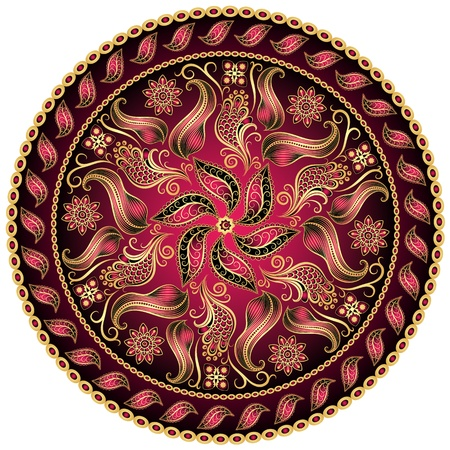 Round gold-purple-black vintage pattern on white