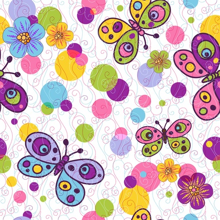 Seamless spring vivid floral pattern with colorful vintage butterflies and balls and curls Illustration
