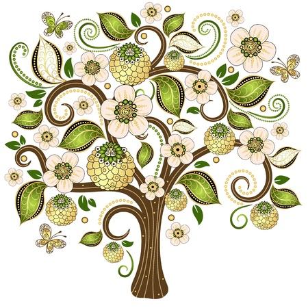 春分離ゴールドと白の木と緑の葉、花、蝶のベクトル