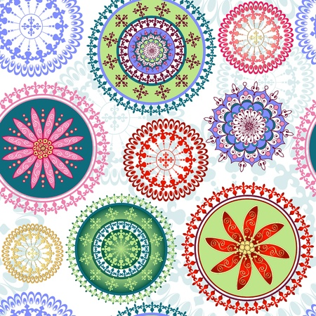 Vintage floral pattern with colorful lacy circles Stock Vector - 18854839