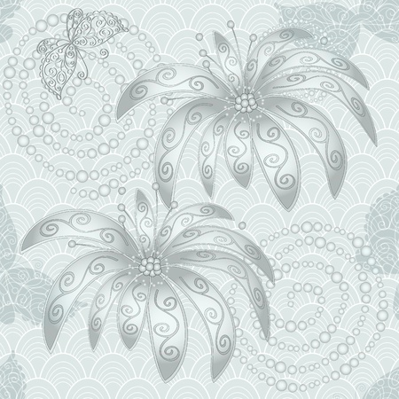 Silvery vintage seamless pattern with flowers, butterflies and concentric circles (vector) Stock Vector - 18904573