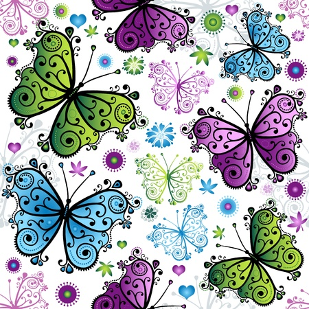 Seamless spring bright pattern with colorful butterflies (vector)