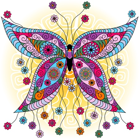 Fantasy spring vintage colorful butterfly with flowers on sunny background (vector) Illustration
